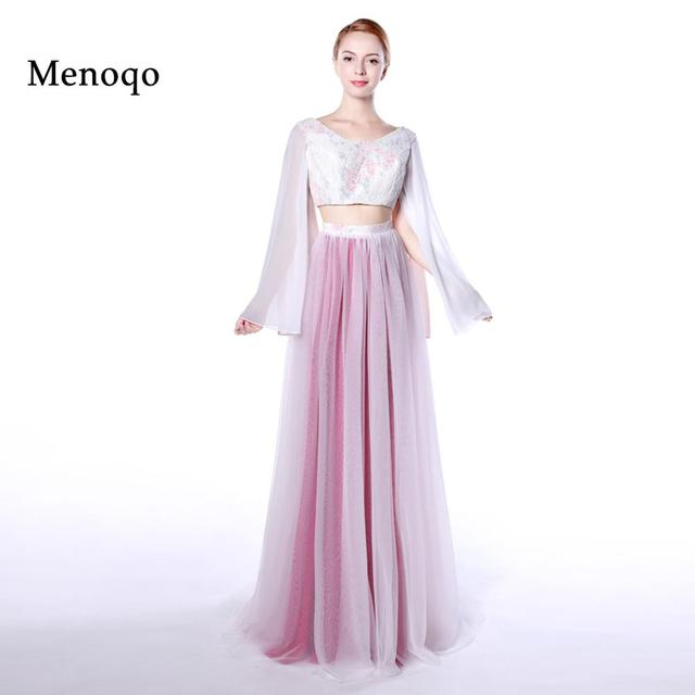a658223114f31 US $89.78 33% OFF|Menoqo Sexy A Line Long Graduation Party Dress Lace  Chiffon Prom Gown 2 piece prom dresses 2018-in Prom Dresses from Weddings &  ...