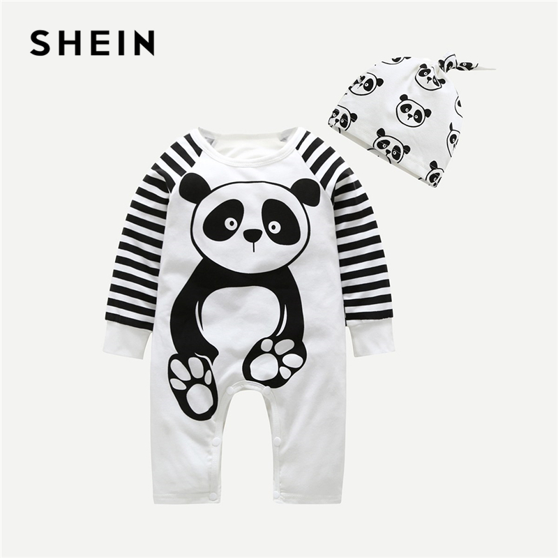 SHEIN Toddler Boys Cartoon Print Contrast Striped Sleeve Jumpsuit With Hat Children 2019 Spring Fashion Casual Boys Jumpsuits contrast striped side bodysuit