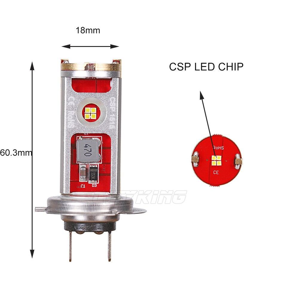 2 шт. супер яркий H11 H4 H7 светодиодный лампы 60 Вт CSP светодиодные, под шину CANBUS, для автомобиля противотуманных фар может занять от 10 до 30 V 6000 K белая Автомобильная лампочка