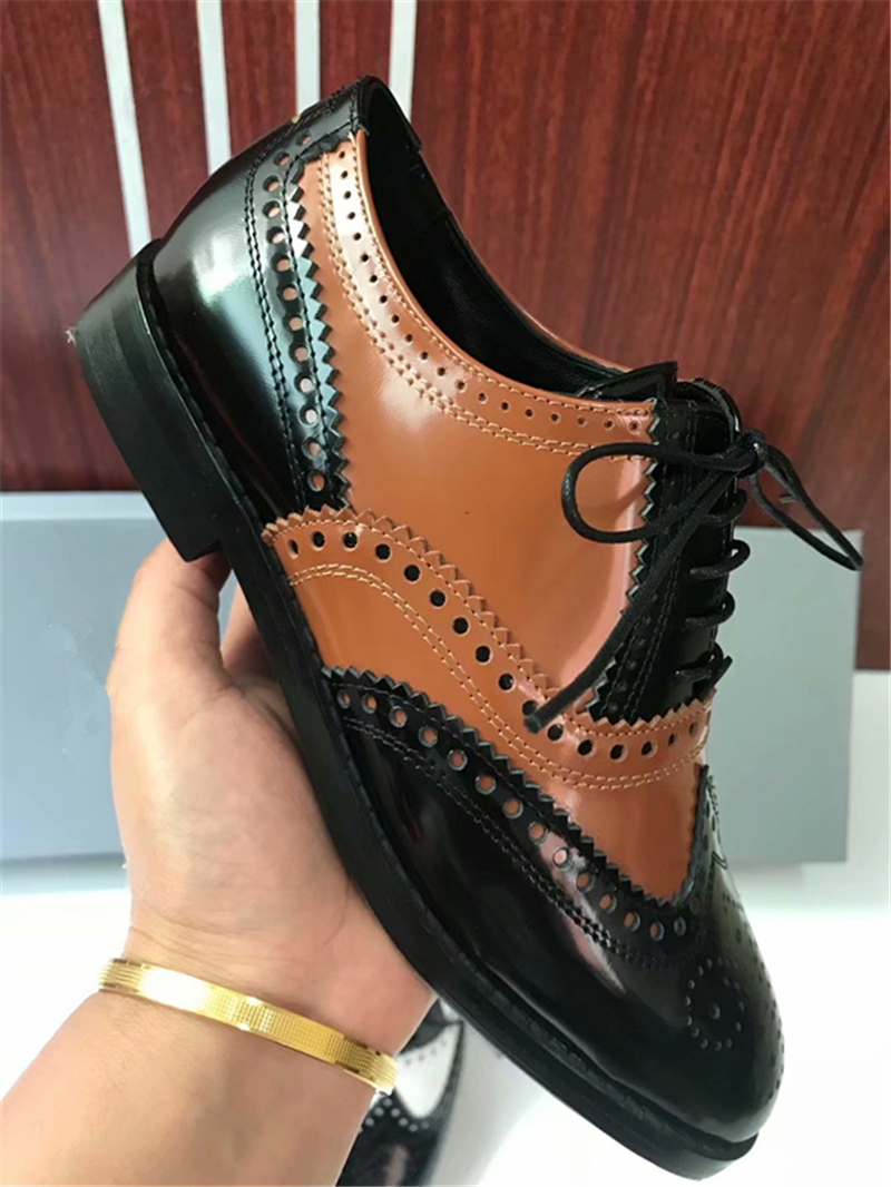 Mixed Color Womens Winged Oxford Lace Up Striped Platform Metallic Fashion Vintage Platform Bullock Flat Female Shoes Woman 40 - 5