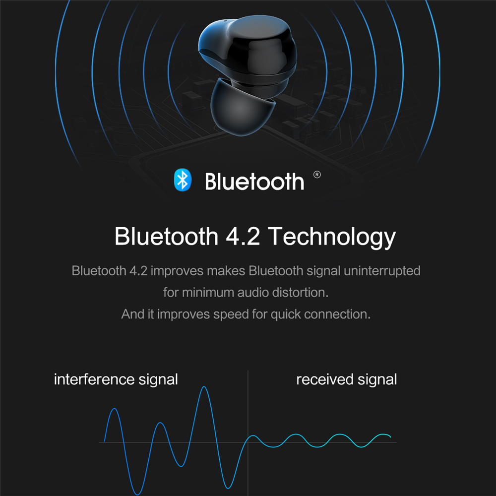 ROCKSPACE TWS Touch Control Headset Hifi Stereo Earbuds Wireless Earphone Bluetooth Portable With Microphone Earphone