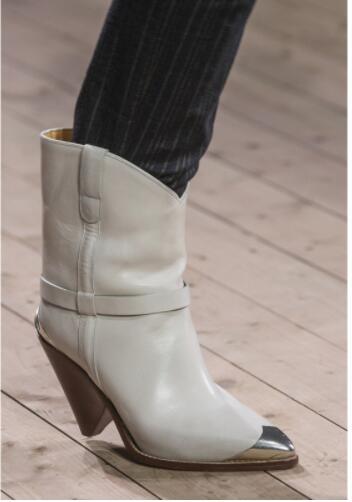 Véritable cuir 2018 femmes cheval Spike talons courtes bottines piste métal bout pointu chaussures dames scène noir chaussons femmes