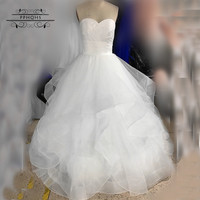 2017 New White Or Ivory Sexy A Line Taffeta Organza Wedding Dress Bridal Gown Custom Made