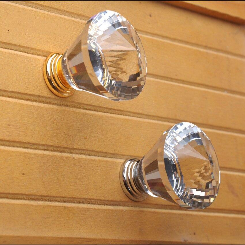 30mm 40mm modern simple fashion K9 crystal furniture handles silver golden drawer cabinet knobs pulls rhinestone dresser handles css clear crystal glass cabinet drawer door knobs handles 30mm