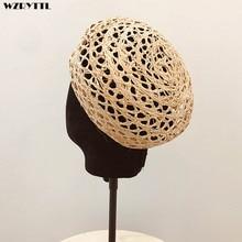 New Trendy Summer Women Beret Cloche Raffia Sun Hat Adjustable Girl Straw Beach Cap Ladies French Style Papyrus