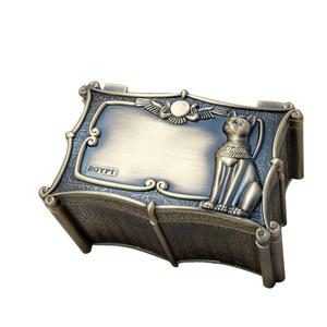 Image 5 - Vintage Mısır Bastet Kedi Metal Anubis Mücevher Kutusu Mısır Hediye saklama kutusu Ev Sanat Zanaat Dekorasyon Organizatör Tabut Göğüs