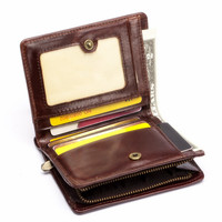 Genuine Leather Men Wallet Brand Small Short Portomonee With Coin Zipper Purse Slim Rfid Fashion Mini