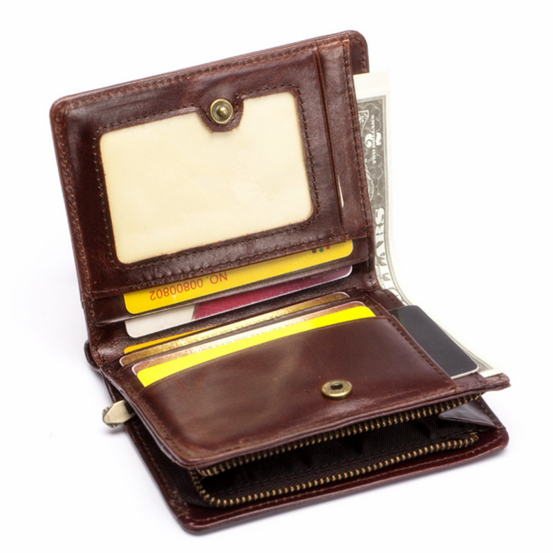 Genuine Leather Men Wallet brand Small Short portomonee with Coin Zipper purse Slim Rfid Fashion Mini Walet