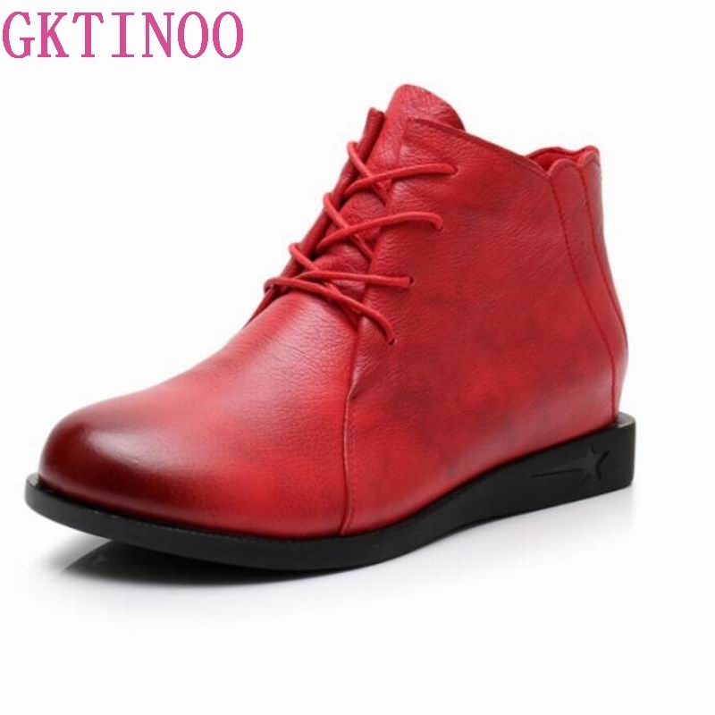 GKTINOO High Quality Genuine Leather Shoes 2018 Spring Autumn Fashion Ankle Boots Women Boots Soft Casual Flat Shoes spring autumn of all match fashion casual colorful lace up flat shoes women high quality soft leather shoes women single shoes page 1