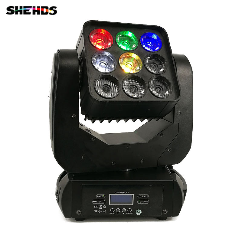 DJ Equipment 9x12W LED Matrix DMX512 Beam Moving Head For Wedding Decoration Christmas For Home Led Lamp Disco Stage