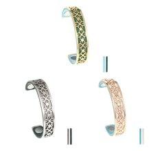 Legenstar Flower Cuff Bangles Femme Bijoux Open Reversible 14mm Leather Stanless Steel Bracelet For Women 2019 Pulseras Mujer