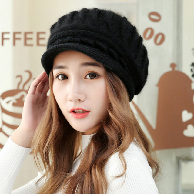 0e9c3b102af530 Autumn Winter Hats for Teenage Girls Good Qulaity Rabbit Fur and Acrylic  Knitted Caps Winter Warm Velvet Hats for Women