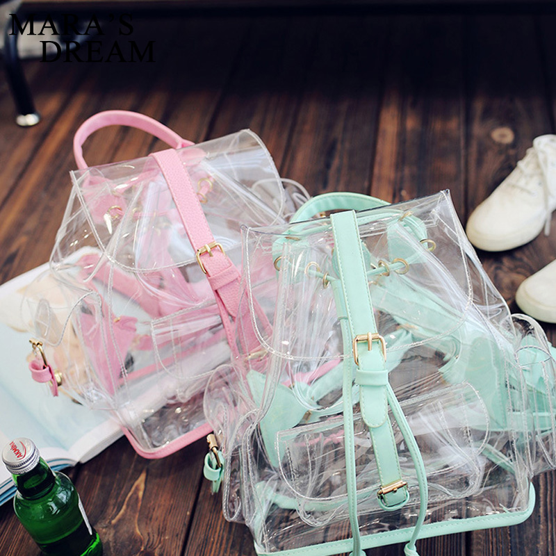 Mara s Dream Women Backpack 2017 Summer Ladies Transparent Bag Casual Candy Backpacks PVC Shoulder Beach