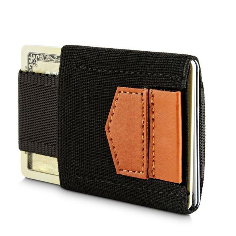 Minimalis Super Slim Wallet Card Holder Kad Kredit Syiling Purse untuk Lelaki Wanita Pocket Magic Elastic Men Dompet