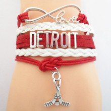SANDEI fashion Infinity Love Detroit Hockey Sports Team Bracelet wristband  friendship Bracelets B09386