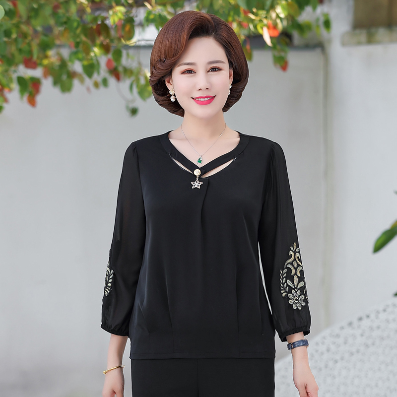 Summer Woman Chic Chiffon Blouses Beige White Round Collar Floral Three Quarter Sleeve Crepe Tops Female Casual Tunic Shirts 4XL