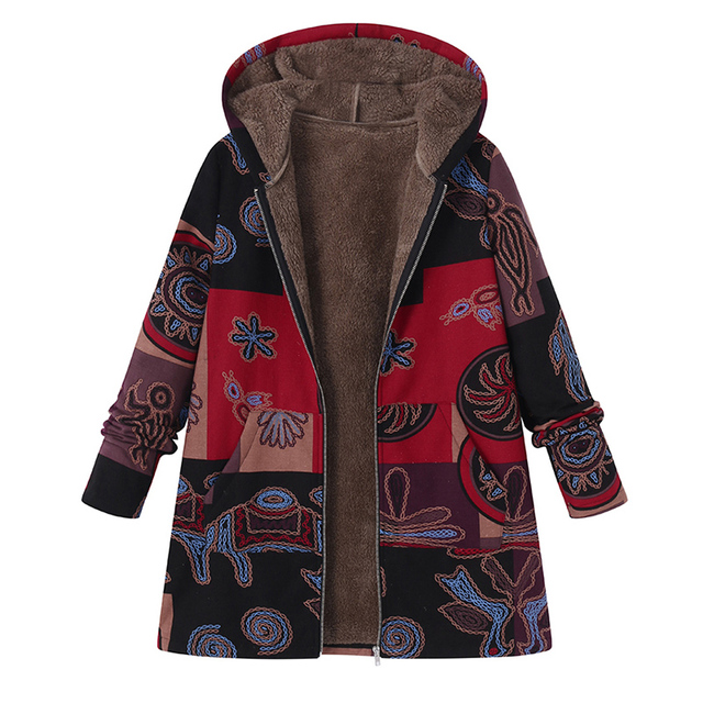 2018 Plus Size ZANZEA Winter Autumn Long Sleeve Basic Outerwear Women Retro Hooded Ethnic Printed Faux Fluffy Thin Coat Jackets 2