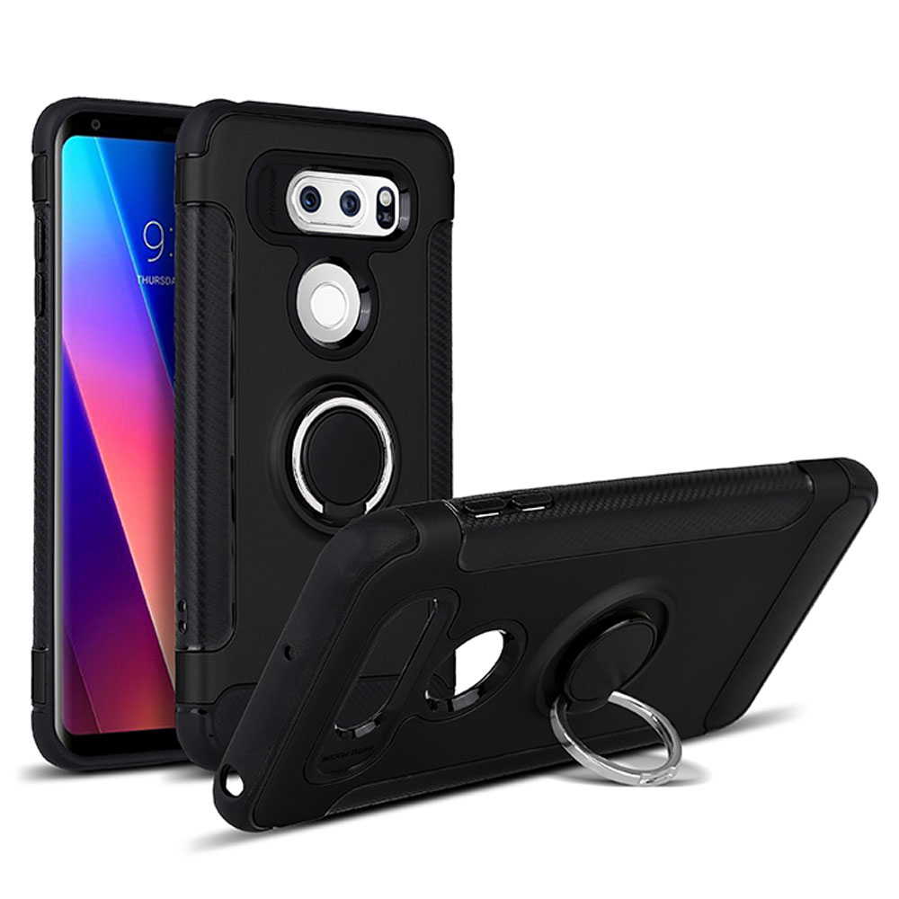 Car Electronics & Accessories Color : Black GPS Mounts Cellphone Armor Series Dual Layer 2 in 1 Hard Case with Rotating Finger Ring Holder Kickstand Magnetic Car Mount Case for LG Q Stylo 4