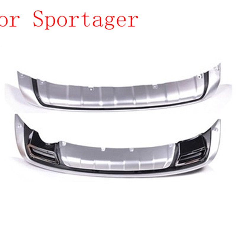 Car-covers ABS Chrome Front+Rear bumper cover trim Protect the spoiler board fit for 2011-2016 KIA Sportager Car styling hot car abs chrome carbon fiber rear door wing tail spoiler frame plate trim for honda civic 10th sedan 2016 2017 2018 1pcs