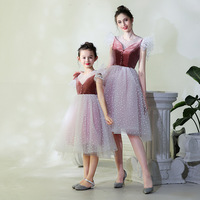Summer Mother Daughter Dresses 2018 Fashion Mother Mom and Daughter Dress Long Sleeves Summer Fashion Matching Clothes