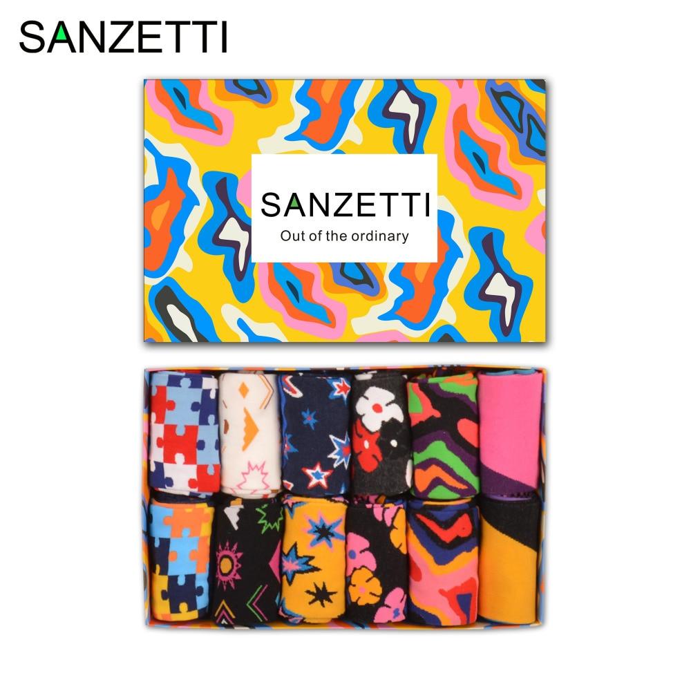 SANZETTI 12 pairs/lot Gift Box Funny Socks Colorful Mens Combed Cotton Casual Dress Skateboard Socks Star Puzzle Crew Socks