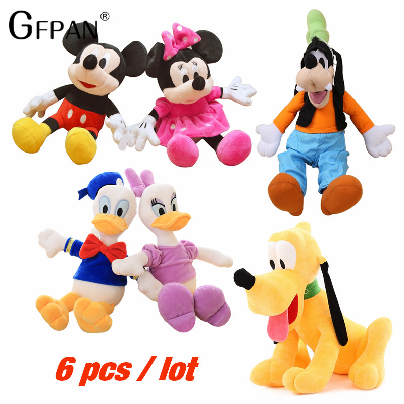 GFPAN 6pcs/set High Quality 30cm Mickey&Pink Minnie Mouse&Donald Duck&Daisy&Goofy Dog&Pluto Dog  Classic Toys For Kids