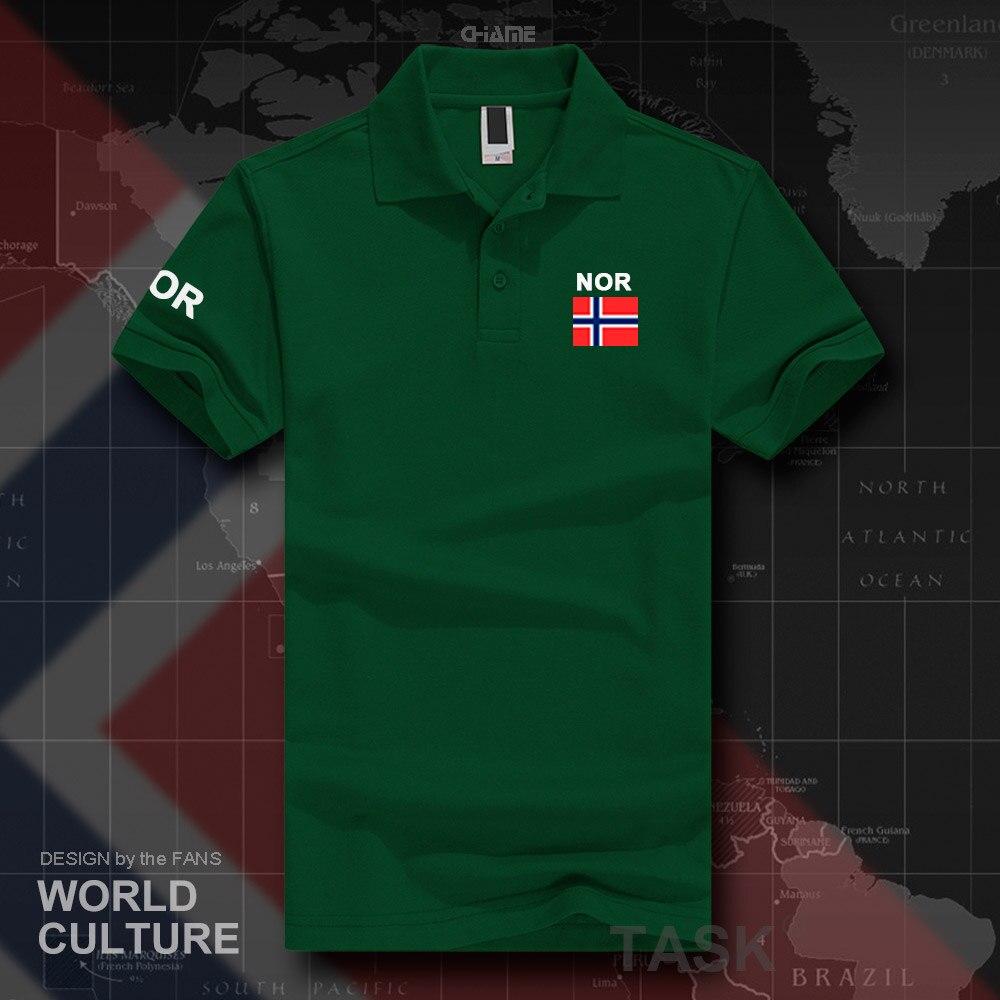 La norvège Norge polo chemises hommes manches courtes blanc marques imprimé pour pays 2017 coton nation équipe drapeau Nordmann Norvégien PAS