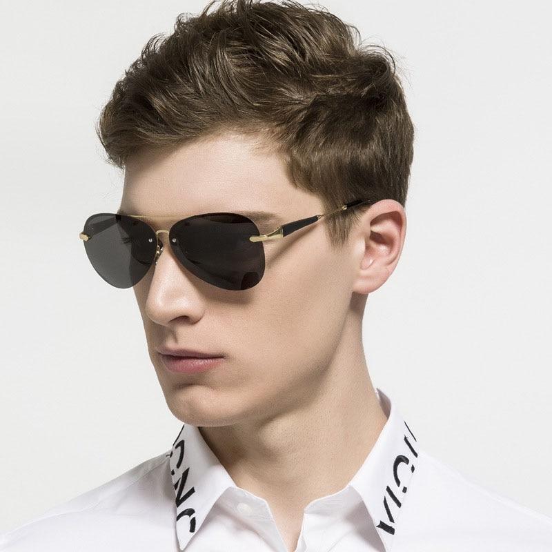 Steampunk gafas hombres mujeres Carter Rimless gafas de sol masculinas polarizadas Lunette gafas de sol marca de lujo conductor pesca gafas