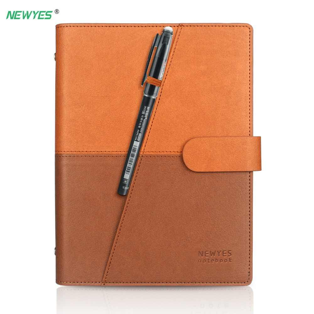 NEWYES Dropshipping Smart Uitwisbare Notebook Lederen Papier Herbruikbare Wirebound Notebook Cloud Storage Flash Opslag Gevoerd Met Pen