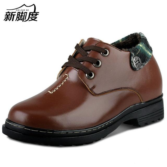 a825cdbeb الرجال جلد طبيعي الشتاء الثلوج أحذية الارتفاع زيادة الأحذية زيادة ارتفاع 9  سنتيمتر بخفاء