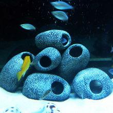 1pc Aquarium Ornament Fish Tank Cichlid Stones Ceramic Rock Cave Stone Decoration With 2 Holes