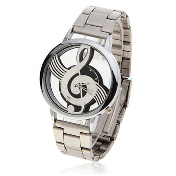 Music symbol metal quartz watch fashion casual stainless steel men's watchLow-key luxury brand