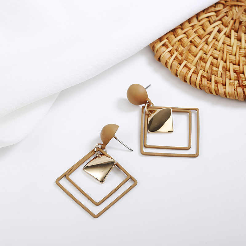 2018 New Korean Fashion Round Earrings Candy Colors Earrings Statement Geometric Hollow Square Drop Earrings for Women Jewelry