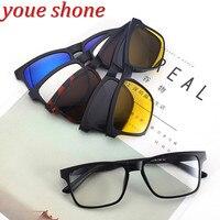 Youe Shone Brand Sunglasses Women And Men Optical Glasses Frame With 5 Pieces Clips Sun Eyeglass