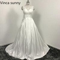 Sexy Backless Wedding Dresses 2016 Chapel Train Bridal Gowns Ivory Satin Vestido Noiva Princesa