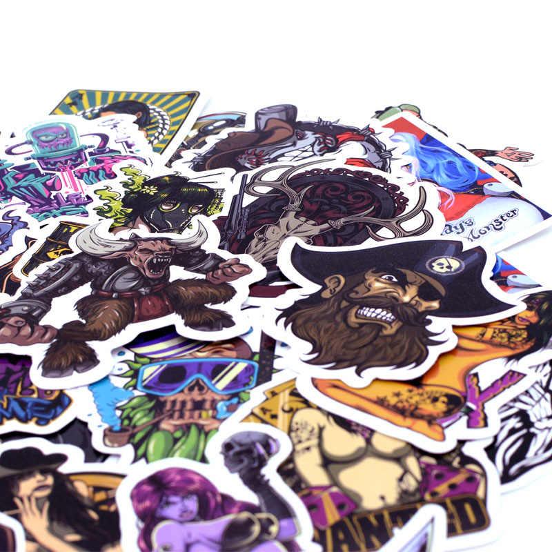 50 unidades/pacote Horror Beleza Graffiti Adesivos Brinquedo do Miúdo Engraçado Etiqueta para DIY Bagagem Laptop Skate Moto Carro Adesivo À Prova D' Água