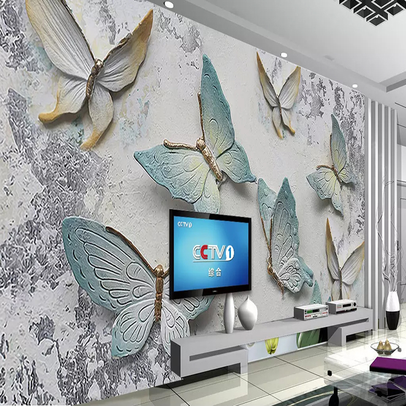 Custom 3D Wallpaper Murals Butterfly Stereoscopic Embossed TV Background Wall Mural Wallpapers For Living Room Papel De Parede