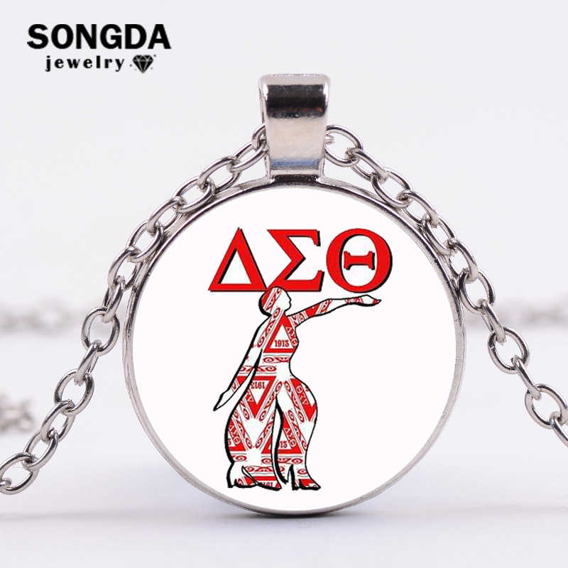 SONGDA New Arrived Greek Greece Sorority Fraternity Organization Delta Sigma Theta Symbol Glass Photo Cabochon Delta Necklaces