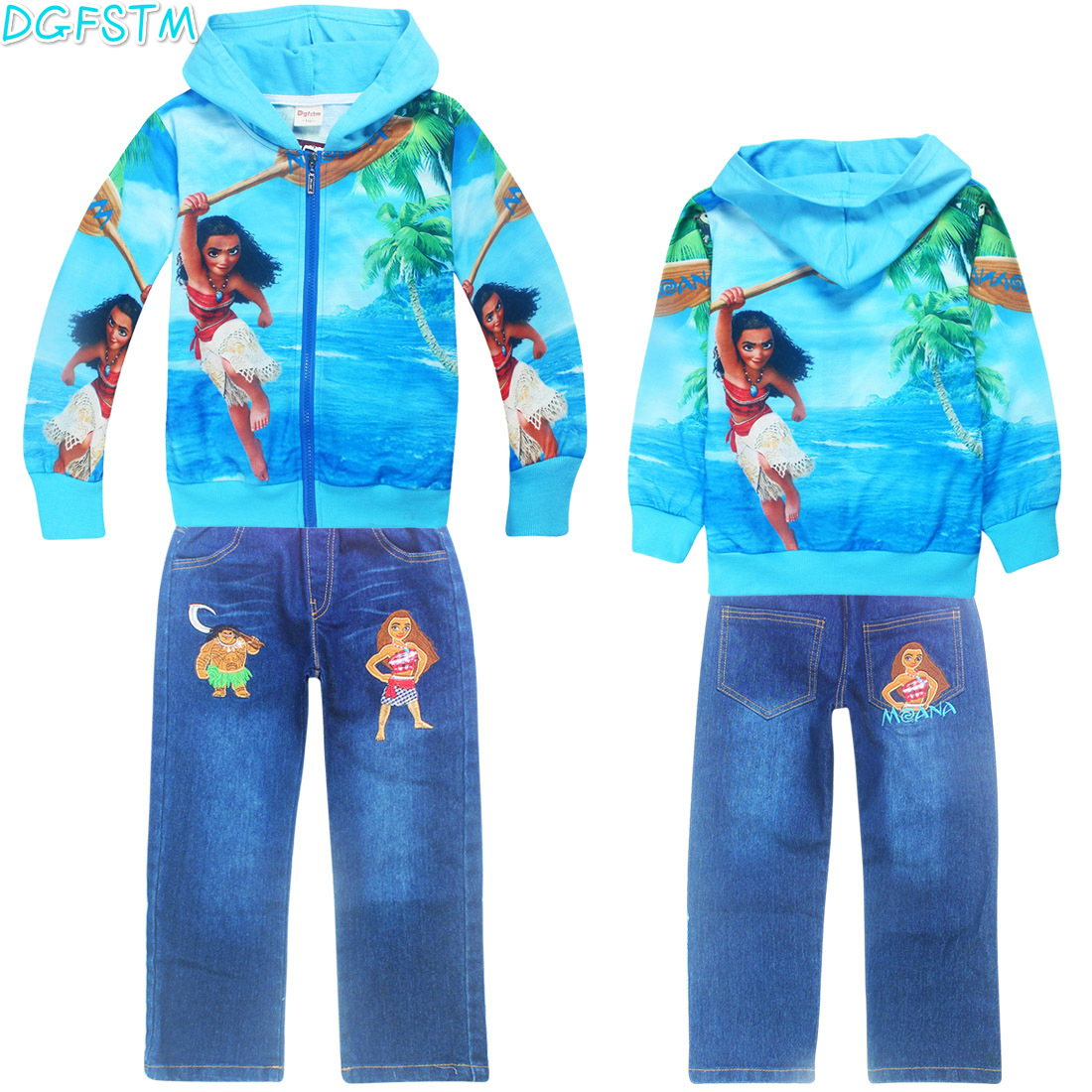 2017 Moana autumn children coat suit jacket sweater wear long sleeved girls child deguisement Long sleeves T-shirt+Jeans sets