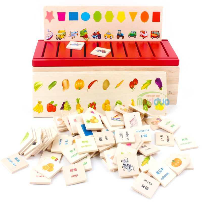 Montessori Early Education Series Domino Toy Wooden Creature Blocks Children's Intelligence Learning Blocks Brinquedos W244 bohs kids child wooden multicolour mathematics math domino blocks early learning toy sets 1set 110pcs 1pc storage bag