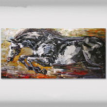 Modern Handpainted Abstract Animal Oil Paintings Wall Art, Large Canvas Running Horse