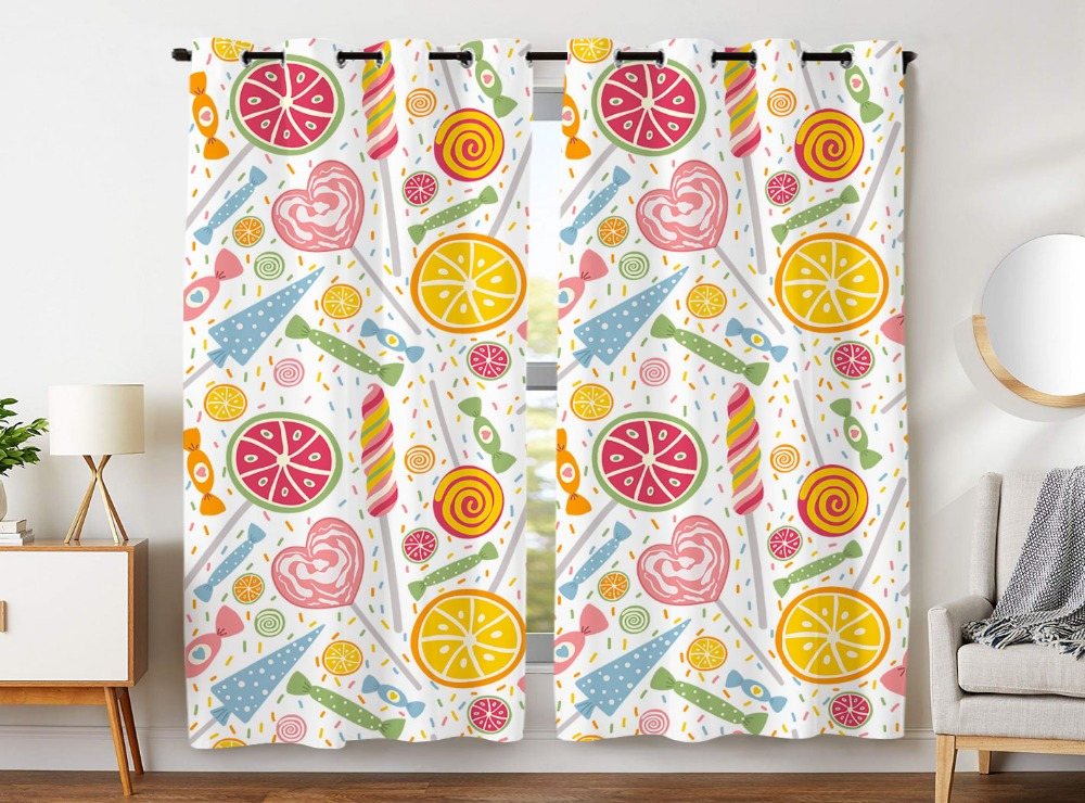 Blackout Curtains 2 Panels Grommet for Bedroom Colorful Candies Lollipops Sweet Fruit