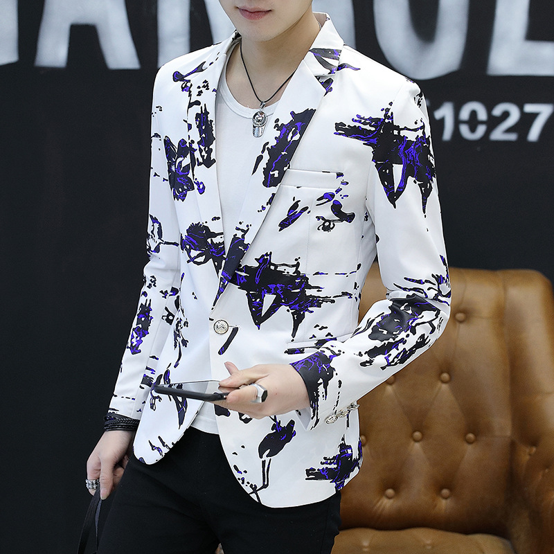 HO New 2020 Men's Fashion Graffiti Printed Wet Blazer Is Of Cultivate One's Morality The Fashion Young