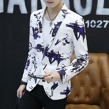 HO new 2020 men's fashion graffiti printed wet blazer is of