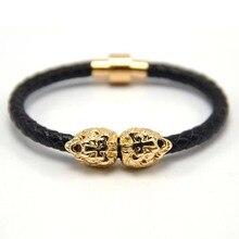 Silver/gold/ Lion Head Cool Bracelet Men and women,Braided Leather Lion Head Bracelets Wholesale Bracelet hot selling