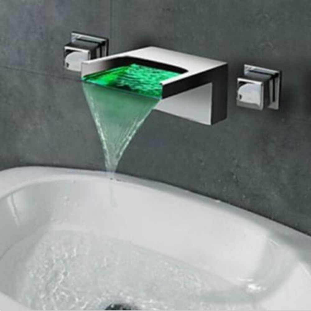 LED Color Changing Waterfall Spout Bathroom Tub Faucet Dual Handles Sink Mixer