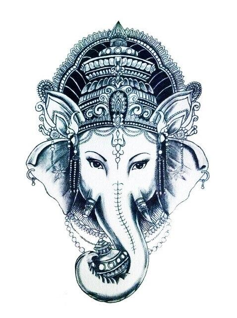 12x20 cm Noir blanc thai elephant art paix Temporaire de