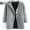 SheIn Ladies Grey Long Sleeve Single Button Tweed Coat Plain Women Vintage Style with Pocket Straight Long Coat