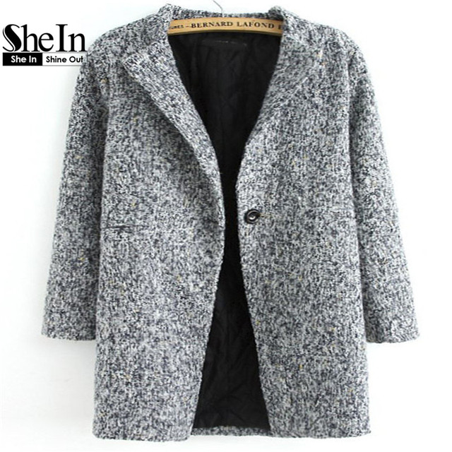 d1bf79e568c78 SheIn Ladies Grey Long Sleeve Single Button Tweed Coat Plain Women Vintage  Style with Pocket Straight