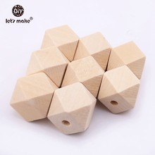 Let's Make 10mm-20mm 100pcs Wood Beads Spacer Beads Unfinished Geometric Beads Jewelry For DIY Wooden Necklace Baby Teether(China)